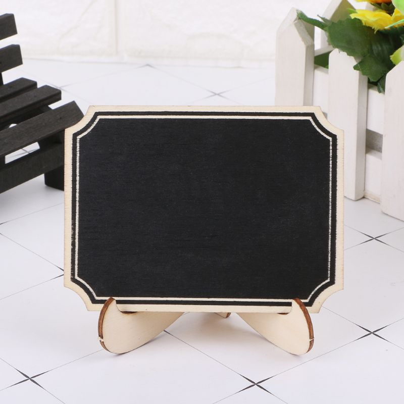 10pcs Wooden Mini Blackboard Table Sign Memo Message Stand Chalk Board Wedding Party Decoration Supplies R9UA