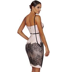 Image 2 - Ocstrade été robes de pansement 2019 nouveau Spaghetti sangle noir dentelle robe moulante Club soirée robe de soirée pour les femmes