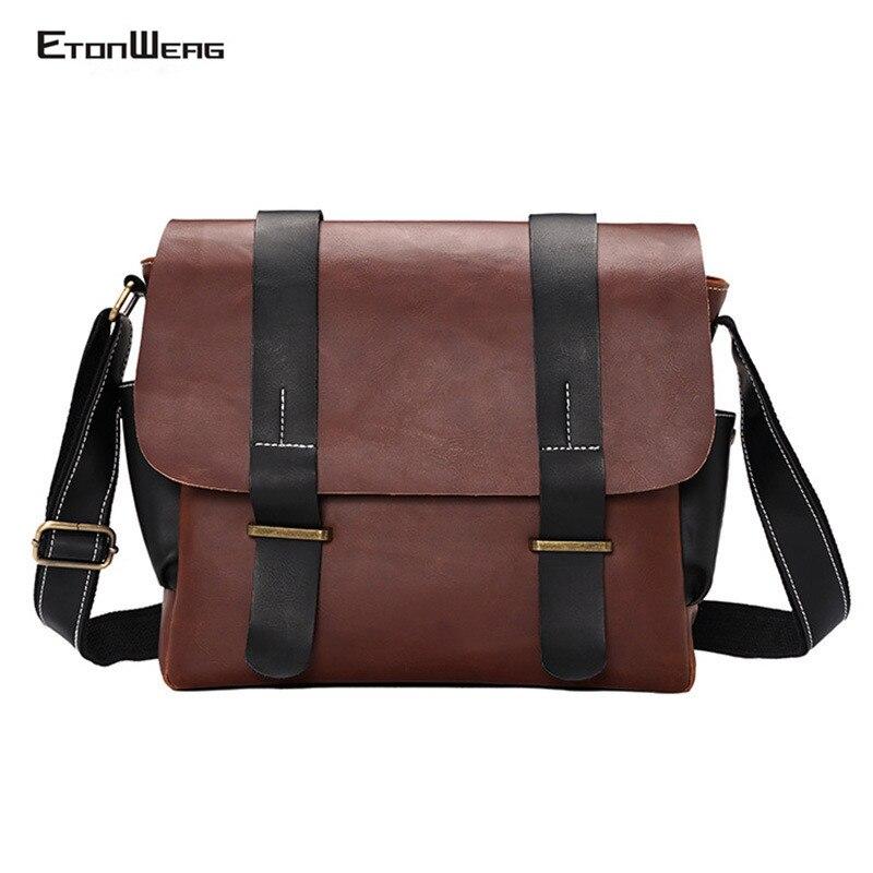 Men Vintage Briefcase Brand PU Leather Messenger Bag Women  Business Office Shoulder Bag Male Casual Cover Laptop Bags Retro Man