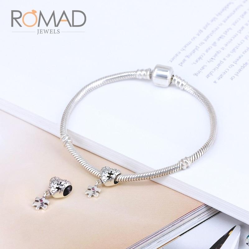 Romad Original Heart Shape Tetris  925 Sterling Silver Beads Handmade Diy Jewelry Accessories Fit Pandora Charms Bracelet