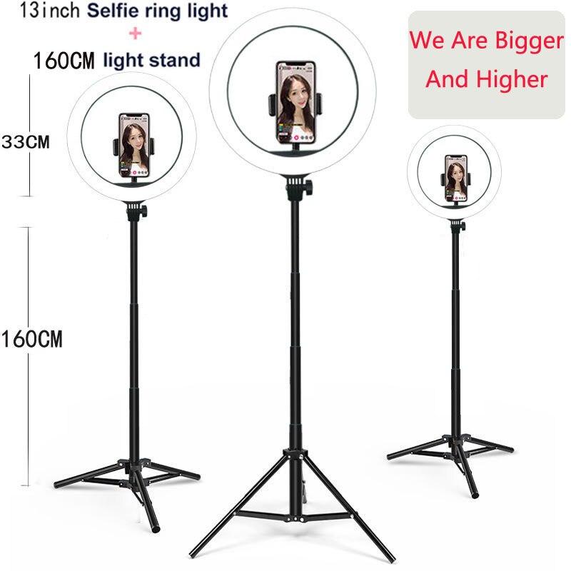 13 cali 33 CM lampa wideo możliwość przyciemniania LED Selfie lampa pierścieniowa USB lampa pierścieniowa oświetlenie fotograficzne z 2M stojak trójnóg do makijażu Youtube