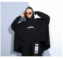 Women Oversized Bat Sleeve Loose Hooded Sweatshirt Female Streetwear Hip Hop Punk Gothic Plus Size Black Pullover Hoodie Autumn(China)