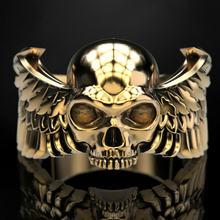 В готическом стиле мужская мода 316l кольцо с черепом из нержавеющей