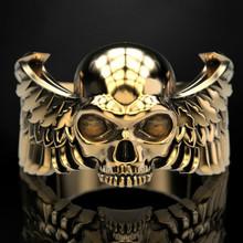 Gotycka moda męska 316L czaszka ze stali nierdzewnej pierścień Demon skrzydła ze stali nierdzewnej Punk Style Party biżuteria tanie tanio CN (pochodzenie) Miedzi STAINLESS STEEL Mężczyźni Metal Zestawy dla nowożeńców Szkielet Wszystko kompatybilny Prong ustawianie