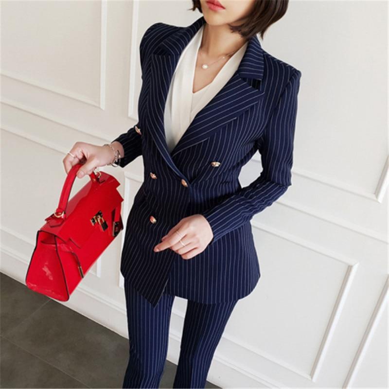 Высокое качество женские офисные Осень Зима Женский комплект 2 шт. полосатый зубчатый неправильный костюм пальто + модные рабочие брюки