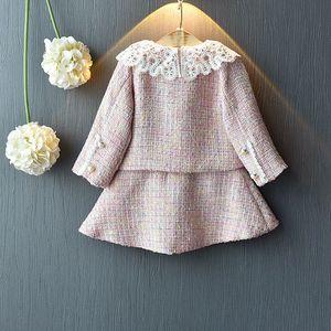 Image 2 - Sweet Fashion Princess Clothing Set For Girls Kids Children Baby Lace Dress+Long Sleeve Jacekt Coat Outwear 2pcs Suits S9638