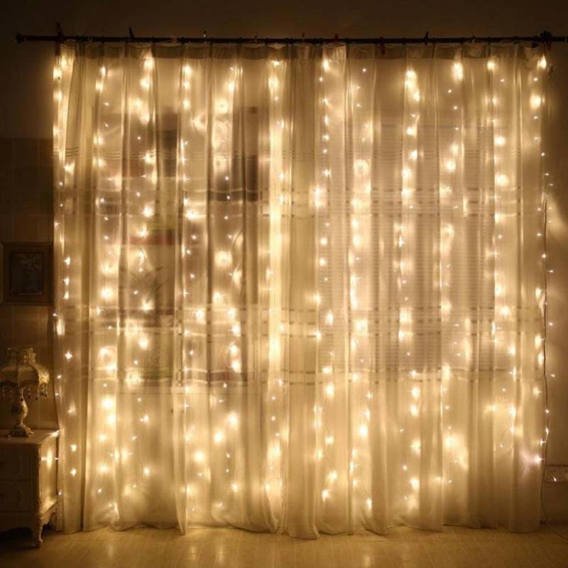 3m christmas fairy lights garland led curtain fairy string lights backdrop wall lamp with remote control hom wedding xmas party
