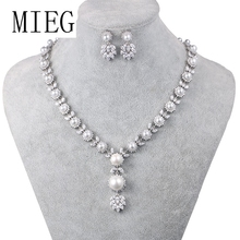 MIEG Brand High Quality Simulated Shell Pearl Bridal Jewelry Set for Wedding Party Diamante with Zircon Crystal