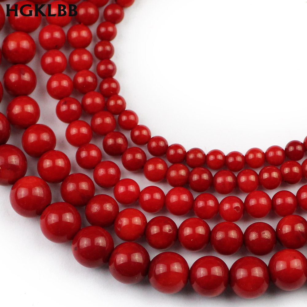 HGKLBB Natural <font><b>Red</b></font> <font><b>Coral</b></font> stone Spacer Round ball Loose Beads For Jewelry making 3/4/5/6/7MM DIY necklace Bracelet Accessories image