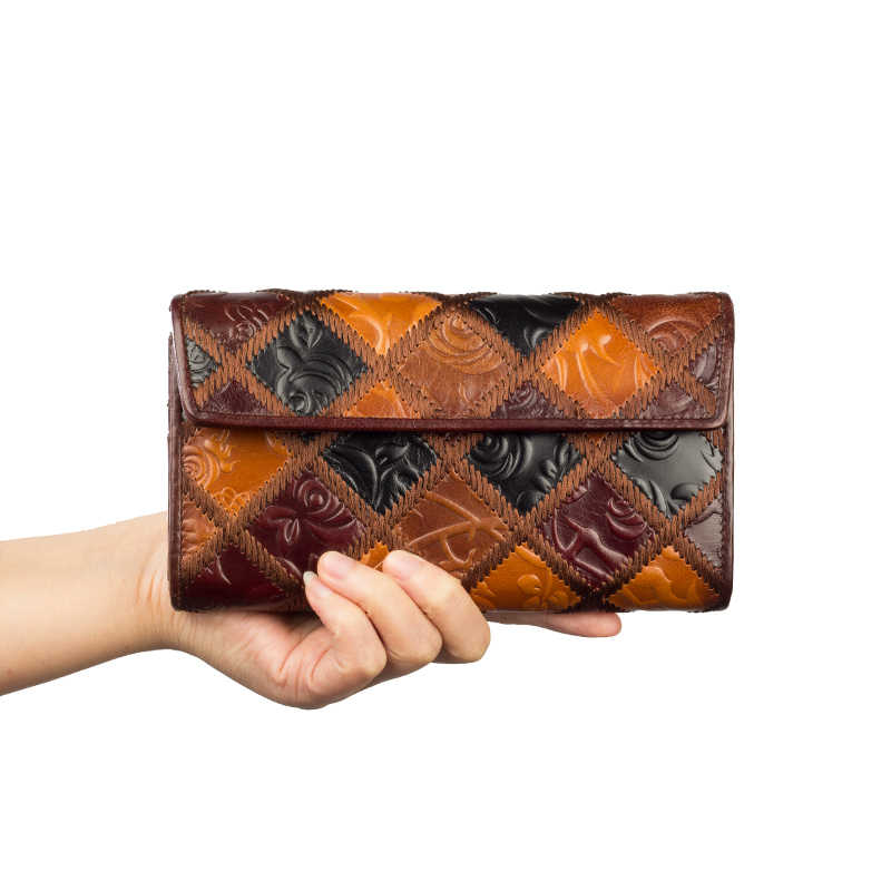 Tanned Genuine Leather Folded Wallet Organizer Women Long Clutch Bag Purse Card Holder 8097-3C