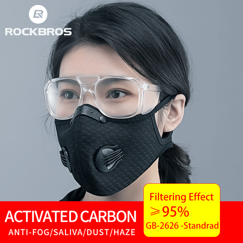 ROCKBROS Bike Mask Men Women Protection Mask 5 Layers Filter Anit-fog Breathable Dustproof Sports Mouth-Muffle Dust KN95 Masks
