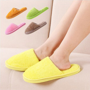 Winter Warm Home Slippers Candy Color Women Indoor Bedroom Cotton Floor Non-slip Flax Shoes  # - discount item  15% OFF Women's Shoes