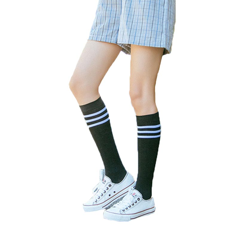High Elasticity Girl Cotton Knee High Socks Uniform Blue Coral Trees Women Tube Socks