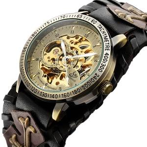 Image 5 - レトロブロンズスケルトン自動機械式時計男性ゴシックスチームパンク自動巻腕時計ユニークなレザー時計リロイ Hombre