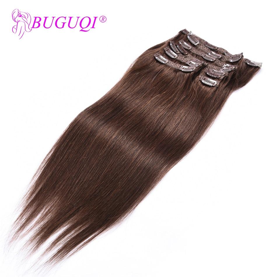 BUGUQI Hair Clip In Human Hair Extensions Malaysian  #4 Remy 16- 26 Inch 100g Machine Made Clip Human Hair Extensions