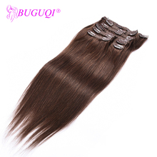 BUGUQI Hair Clip In Human Extensions Malaysian  #4 Remy 16- 26 Inch 100g Machine Made