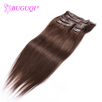 BUGUQI Hair Clip In Human Hair Extensions Malaysian  #4 Remy 16- 26 Inch 100g Machine Made Clip Human Hair Extensions