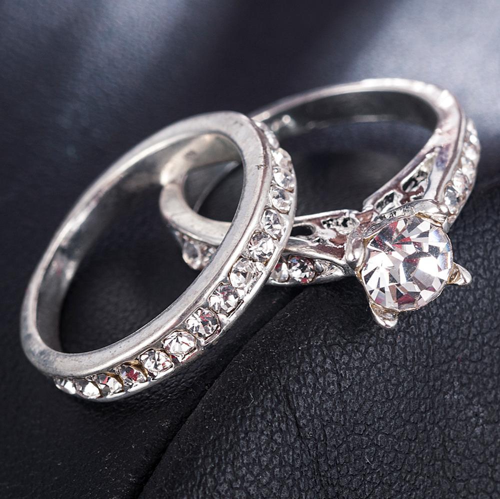 2Pcs/set Charm Lovers Ring Bijoux Femme Fashion Jewelry Bijoux Crystal Engagement Wedding Rings For Women Men Anel 1