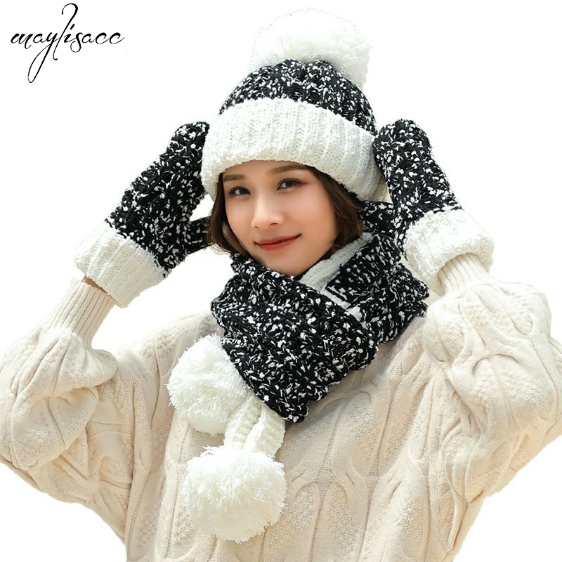 7Color Autumn Winter New Russian Windproof Hat Gloves Scarves 3 Pcs Set Warm Acrylic Knitted Hat Beanies Skullies For Women Girl