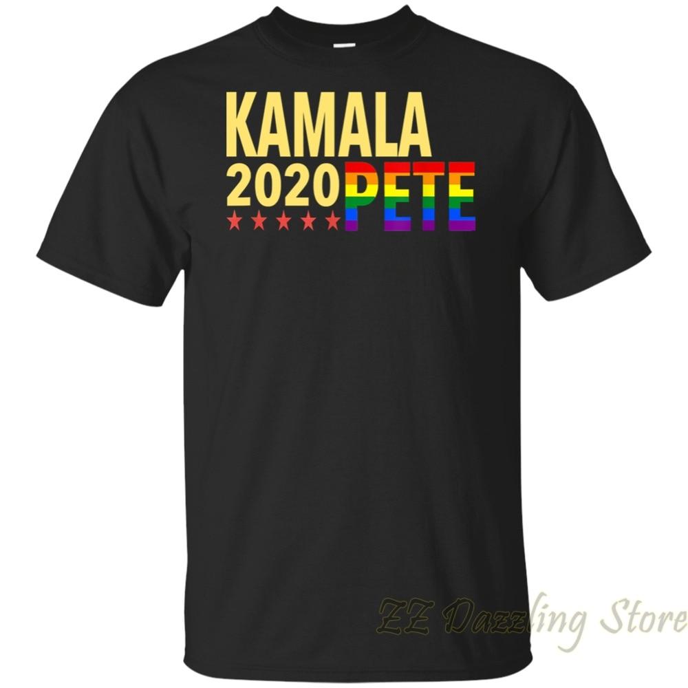 Kamala Harris Pete Buttigieg 2020 LGBTQ Color T-Shirt men t shirt women tops tees 100% cotton Short Sleeve tshirts
