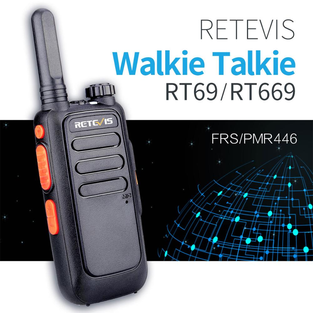 2PCS Retevis RT669/RT69 Portable Walkie Talkie PMR Radio PMR446 VOX Two Way Radio Communicator Transceiver Handy Walkie-Talkie