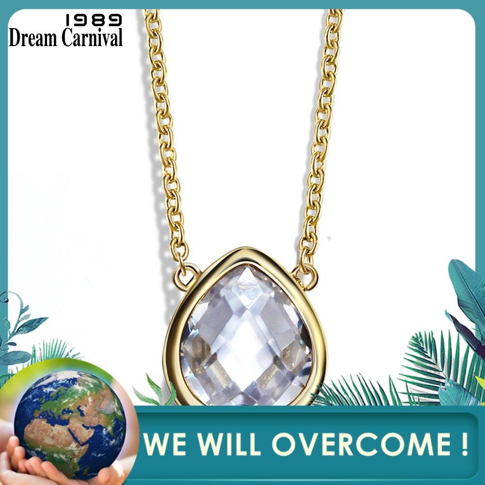 DreamCarnival 1989 Teardrop CZ Anhänger Halskette für Frauen Beiläufige Partei Juwelen Fabrik Direkt Gold Farbe Collier Bijoux Collana-in Anhänger aus Schmuck und Accessoires bei