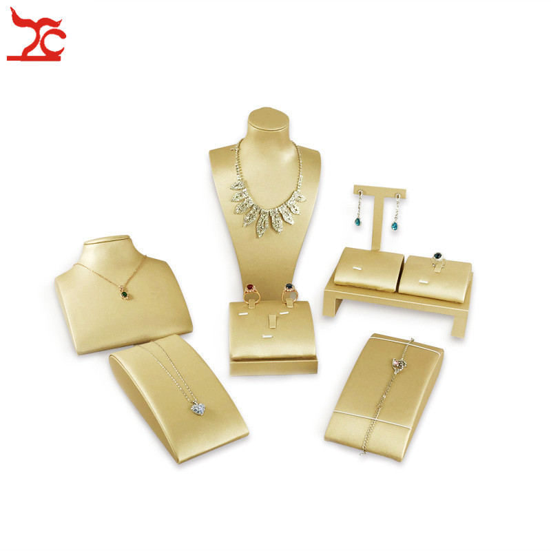 Organizer Holder Stand Jewelry Store Counter Shiowcase Kit Gold PU Ring Earring Necklace Bracelet Display