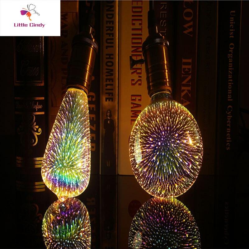 3D светодиодный светильник лампочка лампы светодиодные украшения, стилизованные под языки пламени 110 220V ST64 G95 G80 G125 A60 бутылка в форме сердца E27 праздничный светильник s Новинка Рождество светодиодные лампы Лампы накаливания      АлиЭкспресс