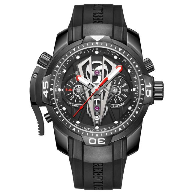 Reef tiger/rt nova chegada todo o preto marca de luxo à prova dwaterproof água relógio pulso aço inoxidável cronógrafo relogio masculino rga3591 5