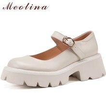 Meotina Mary Janes chaussures femmes cuir véritable naturel plate-forme talons hauts sangle boucle talon épais chaussures pour dames printemps Beige