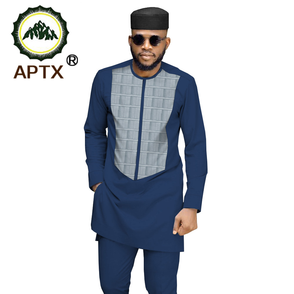 2020 Men`s 3 Piece Suit African Dashiki Clothing Coat Jacket+Ankara Pants+Hat Set Tracksuit Outfit Blazer AFRIPRIDE Ta1916033