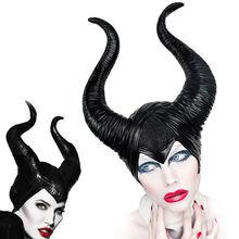 Cosplay maléfique casque Halloween Cosplay maléfique sorcière cornes chapeau coiffe de tête masque casque casque fête reine noire