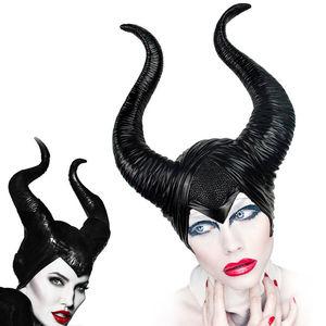 Image 1 - cosplay Maleficent  Helmet Halloween Cosplay Maleficent Witch Horns Hat Head wear Mask Headgear Helmet Party Black Queen