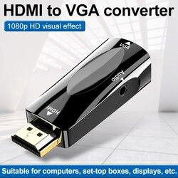 hdmi para vga adaptador conversor cabo com cabo de áudio hdmi macho para vga fêmea 1080 p vídeo conversor para pc tv caixa hdtv