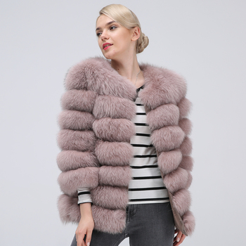 Natural 100% Real Fox Fur Coat for Women