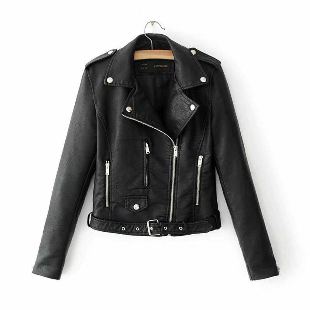 Frauen PU Leder Jacke Schwarz Schlank Kühle Dame Weibliche Faux Leder Motorrad Biker Jacke Zip Short Punk Mantel chaqueta mujer 2020
