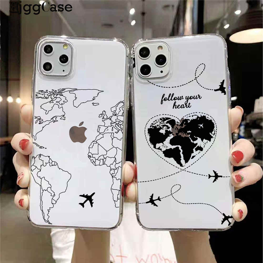 World Map Travel Just Go Soft Phone Cases for iPhones 11 Pro Max 2019 plane silicone Cover For iPhones 6s 7 8 Plus XR XS Max X