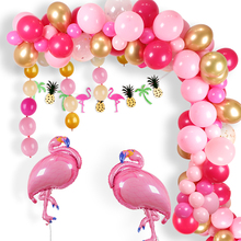 111pc Hawaiian Beach Party Decoration Tropical Summer Supplies Luau Hawaii Theme with Flamingo Helium Balloons Latex