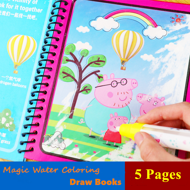 Children Magic Water Coloring Book Educational Learning Painting Toy Peppa Pig Drawing Toy Montessori Book For Boy Girl Gifts