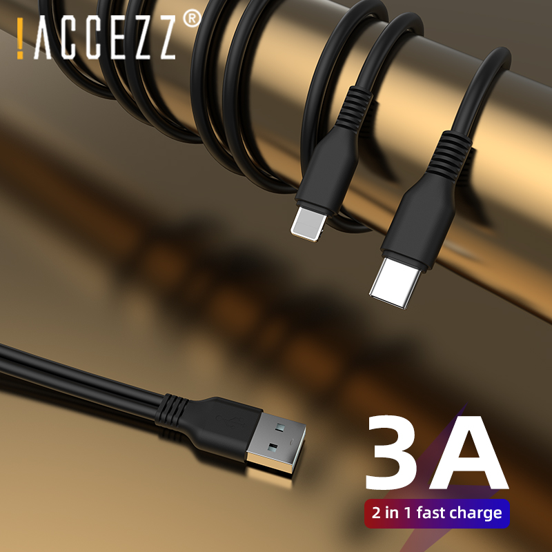 !ACCEZZ <font><b>2</b></font> <font><b>IN</b></font> <font><b>1</b></font> 3A Fast Charging USB <font><b>Cable</b></font> For Iphone 11 Pro <font><b>Samsung</b></font> S10 Huawei P40 Micro USB Lighting Type-C Quick Charger Cord image