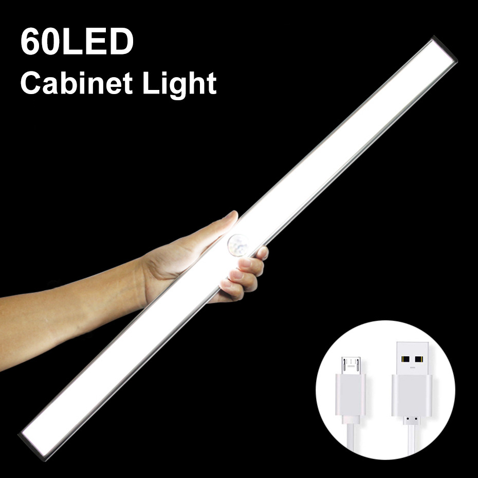 24 40 60 LED Closet Light USB Rechargeable Under Cabinet Lightening Stick-on Motion Sensor Wardrobe Bar With Magnetic Strip