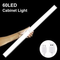 24 40 60 LED Closet Light USB Rechargeable Under Cabinet Lightening Stick-on Motion Sensor Wardrobe Bar with Magnetic Strip