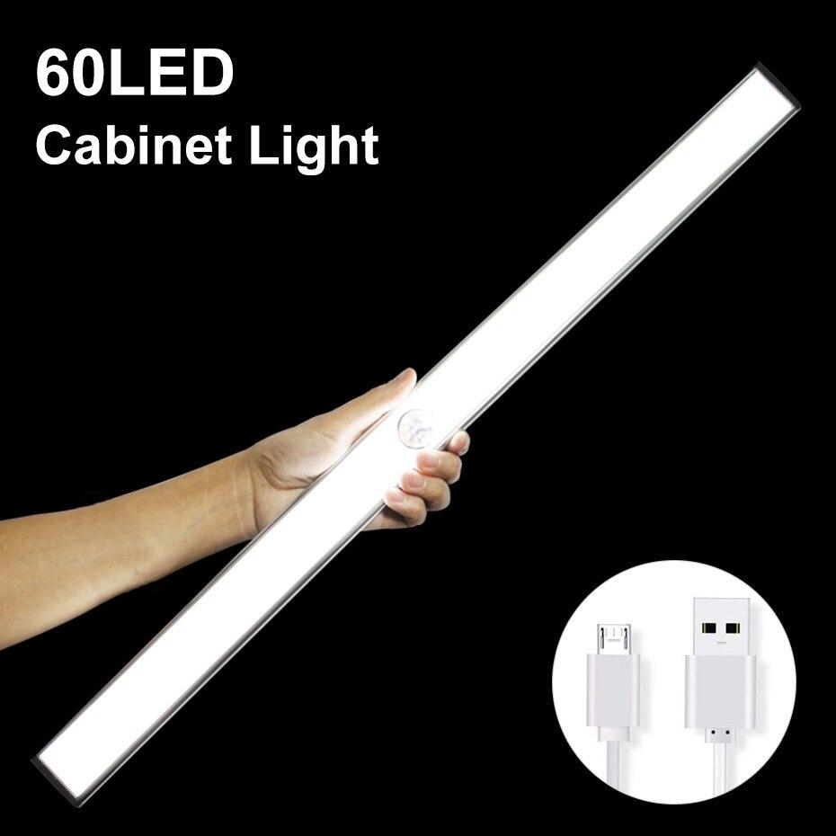 24 40 60 LED lumière de placard USB Rechargeable sous l'armoire éclairant la lumière de garde-robe de capteur de mouvement bâton-on avec bande magnétique