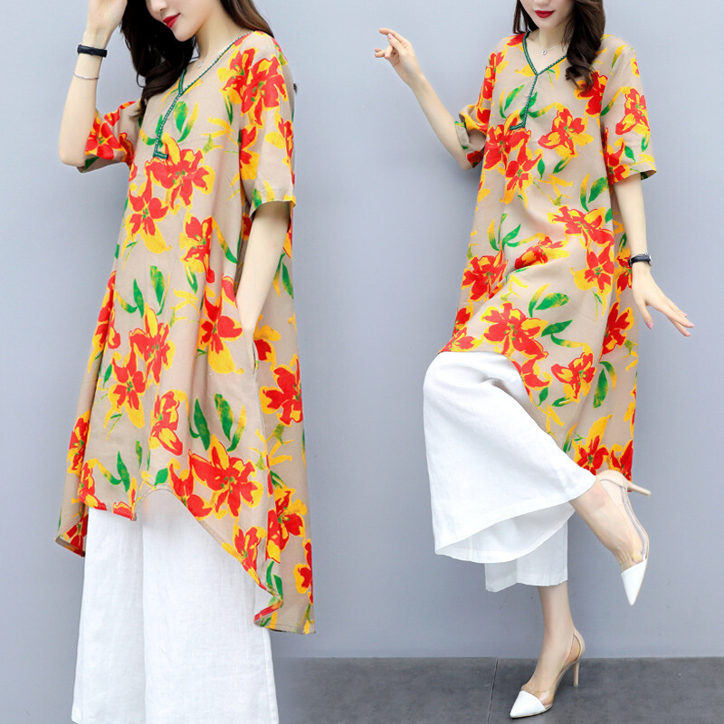 2019 New Style Large Size Dress Western Style Loose-Fit Printed Cotton Linen Tops Two-Piece Set-Style Loose Pants WOMEN'S Suit S