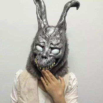 Angry rabbit mask death illusion evil silver rabbit animal wig Bar party performance evil for Halloween birthday party pewter rabbit jewelry box silver czech crystal rabbit figurine box antique decor rabbit best birthday gifts