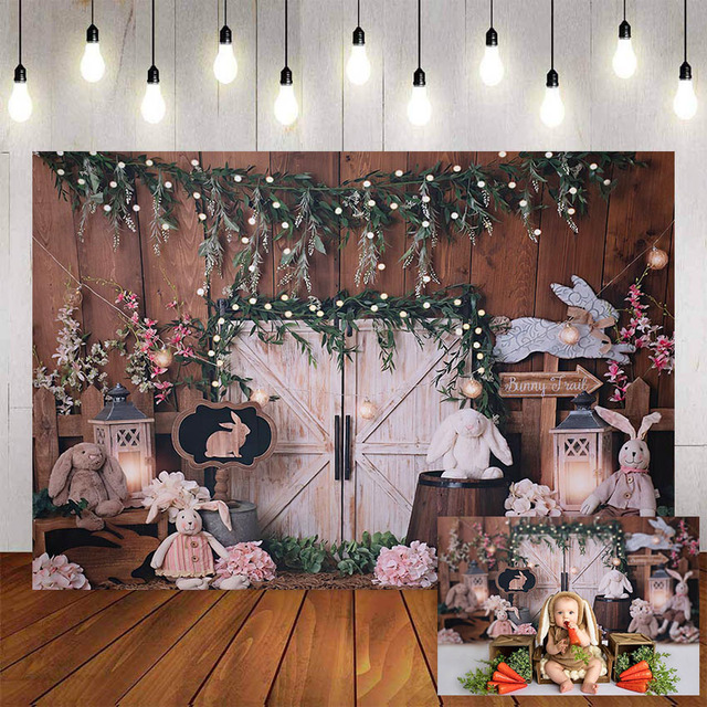Mehofond Photography Background Vintage Wood Spring Happy Easter Rabbit Baby Shower Birthday Party Portrait Photo Backdrop Props