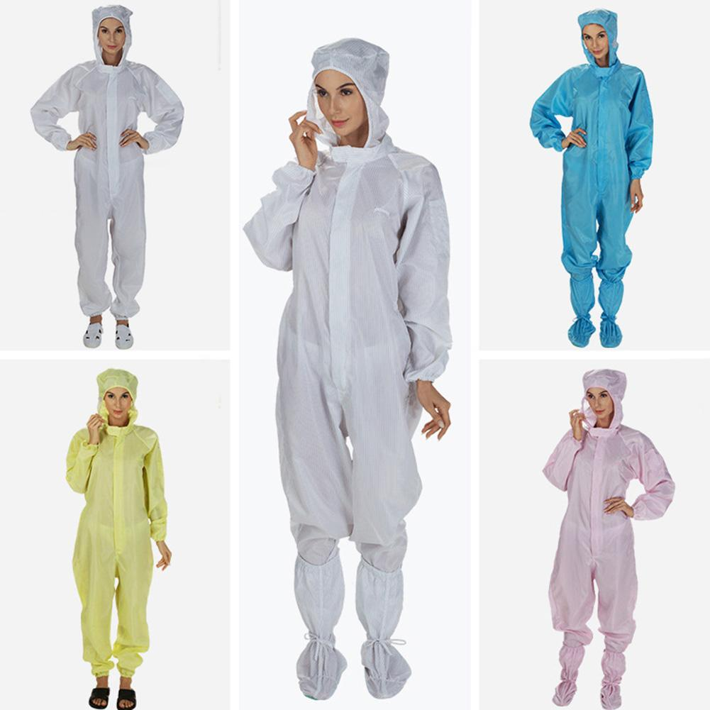 Unisex Isolation Hooded Long Sleeve Coverall Hazmat Suit Protection Protective Disposable Factory Hospital Safety Clothing