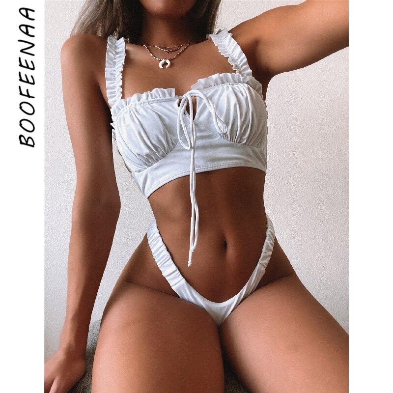 Malloom Bikini Mujer Traje de ba/ño de Volantes con Volantes Florales de Mujer Traje de ba/ño de Dos Piezas