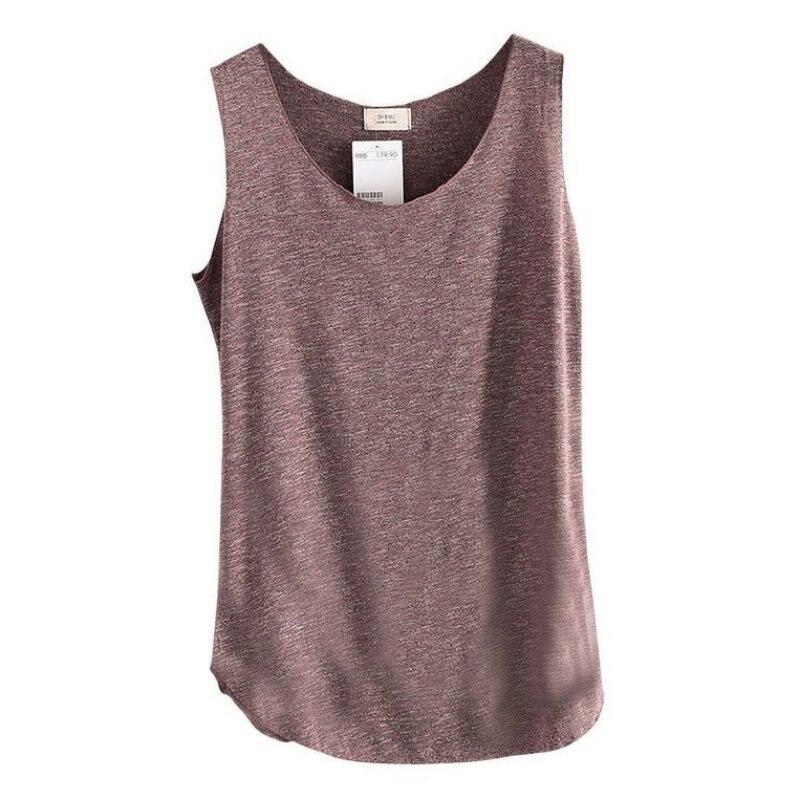 Womens U-Neck Beach Vest Summer Loose Bamboo Cotton Tank T-Shirt Tops Tees