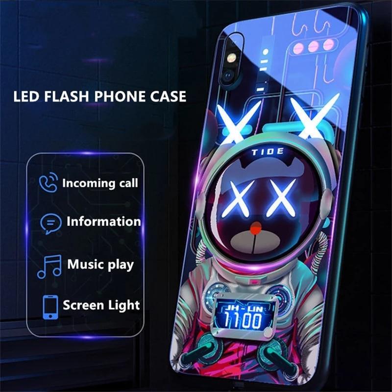 Светящийся телефонный чехол со звуком и музыкой для IPhone/Huawei/OPPO/VIVO/Mi/Samsung, стеклянный чехол со светодиодной подсветкой